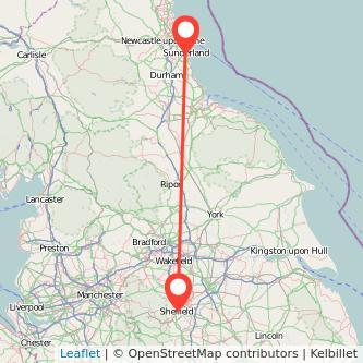 Sunderland Sheffield train map