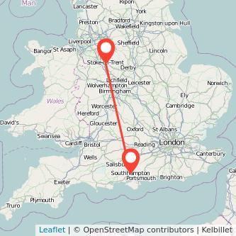 Stoke-on-Trent Southampton train map
