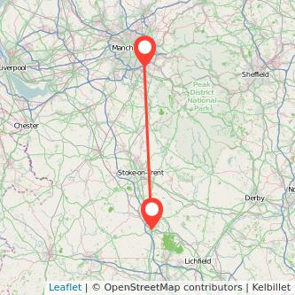 Stockport Stafford train map