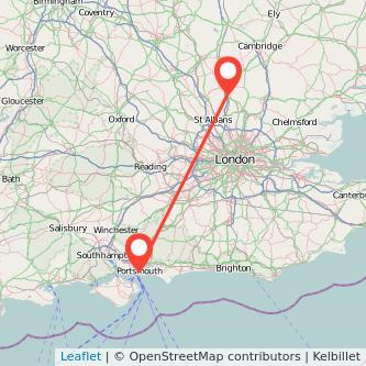 Stevenage Portsmouth train map