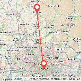 Stevenage London train map