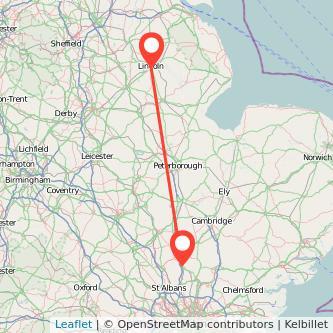 Stevenage Lincoln train map