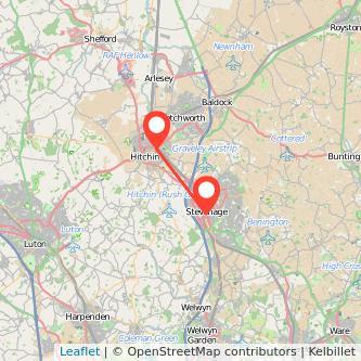 Stevenage Hitchin train map