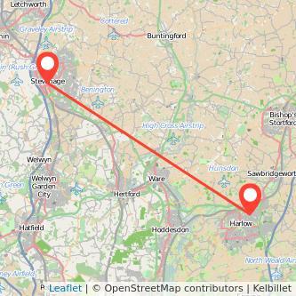 Stevenage Harlow train map