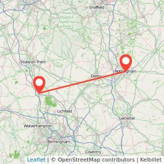 Stafford Nottingham train map
