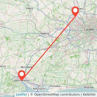 Southampton Watford train map