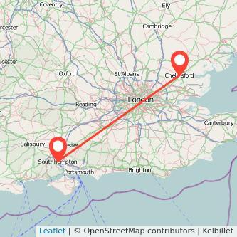 Southampton Chelmsford train map