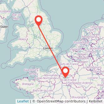 Sheffield Paris train map