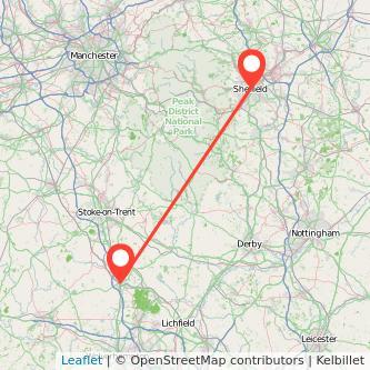 Sheffield Stafford train map