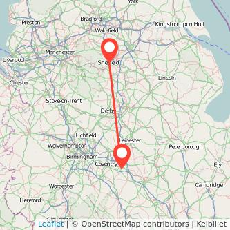 Sheffield Rugby train map