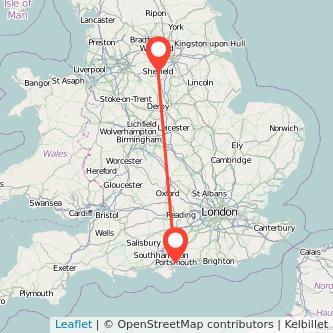 Sheffield Portsmouth bus map