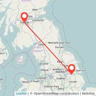 Scunthorpe Glasgow train map