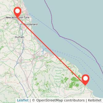 Scarborough Newcastle upon Tyne bus map