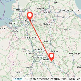 Rugby Manchester train map