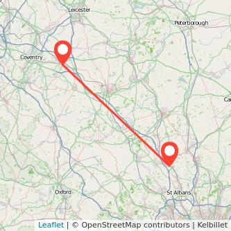 Rugby Luton train map