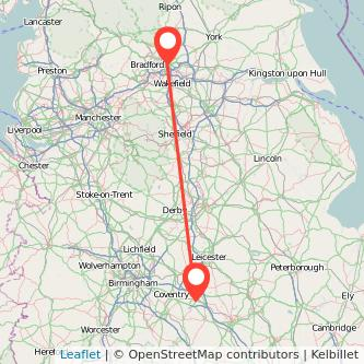 Rugby Leeds train map