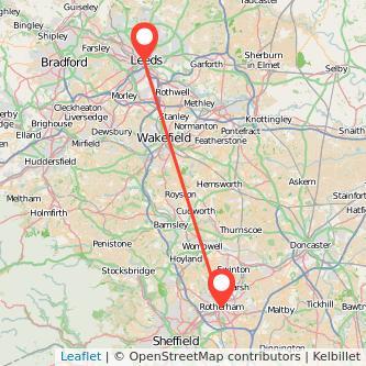 Rotherham Leeds train map