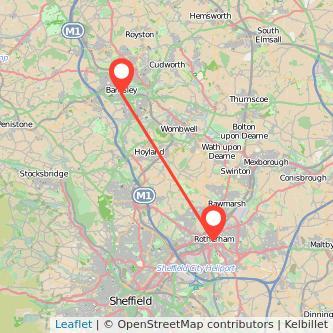 Rotherham Barnsley bus map