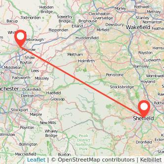 Rochdale Sheffield train map