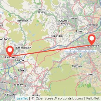 Rochdale Huddersfield train map