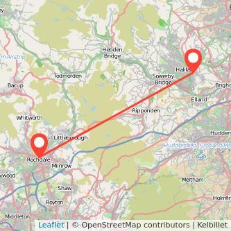 Rochdale Halifax train map