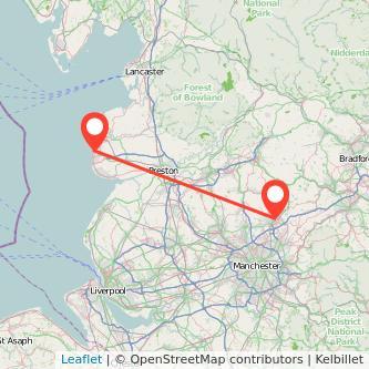 Rochdale Blackpool bus map