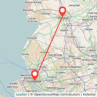 Preston Liverpool bus map
