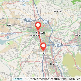 Preston Leyland bus map