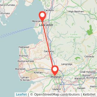 Preston Lancaster bus map