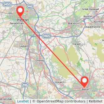Preston Bolton bus map