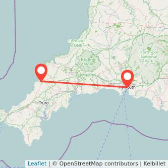 Plymouth Newquay train map