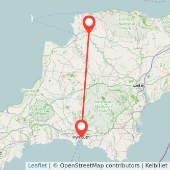 Plymouth Barnstaple bus map