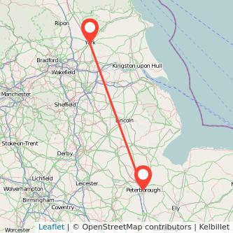Peterborough York train map