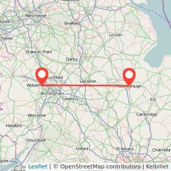 Peterborough Wolverhampton train map