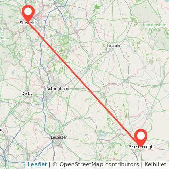 Peterborough Sheffield train map