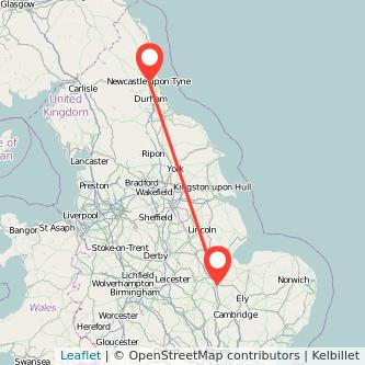 Peterborough Newcastle upon Tyne train map