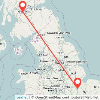 Peterborough Glasgow bus map