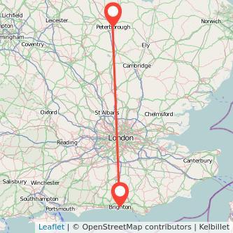 Peterborough Brighton train map