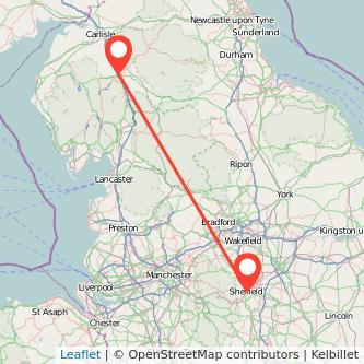 Penrith Sheffield train map