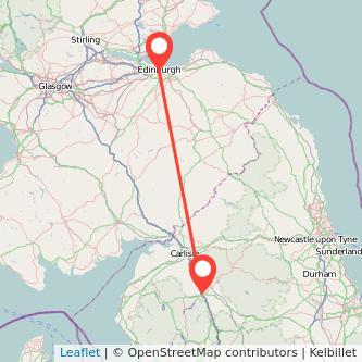 Penrith Edinburgh train map