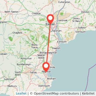 Paignton Exeter train map