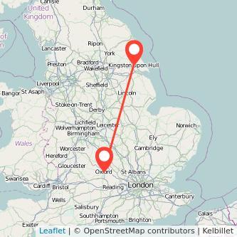 Oxford Hull train map