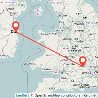 Oxford Dublin flight map