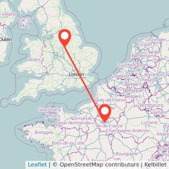 Nottingham Paris train map