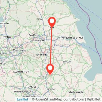 Nottingham York train map