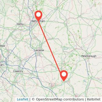 Nottingham Wellingborough train map
