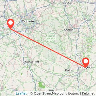 Nottingham Warrington train map