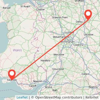 Nottingham Swansea train map