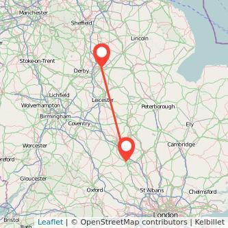 Nottingham Milton Keynes bus map
