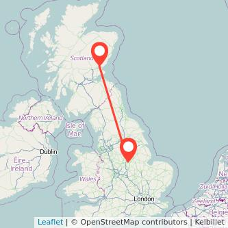 Nottingham Dundee train map
